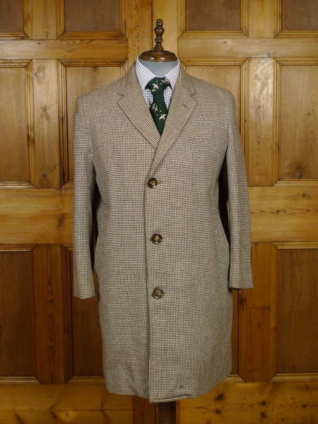 19/0018 wonderful genuine 1940s 1950s vintage brown houndstooth tweed coat w/ original 'starburst' buttons 41-42 short