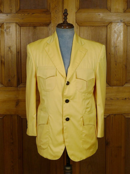 19/0040 SANTARELLI SARTORIA LUXURY scabal super 100s luxury wool straw yellow SPORTS JACKET BLAZER  w/ silk trims 42-43 SHORT