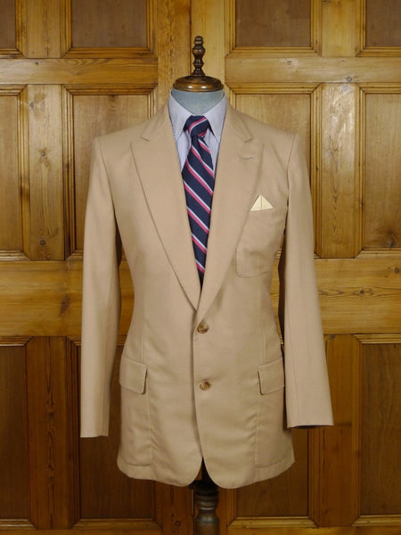 19/0054 wonderful vintage john tudor new york bespoke canvassed beige blazer w/ working cuffs 38-39 long