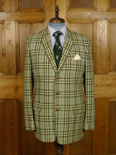 19/0050 wonderful genuine 1950s vintage canvassed heavyweight bold check tweed hacking jacket w/ poachers pocket 40-41 long