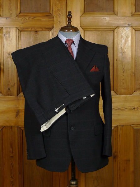 19/0062 near immaculate genuine 1950s 1960s vintage charcoal grey / red windowpane check worsted twist suit 42 regular