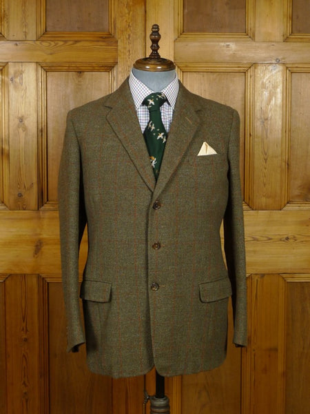 19/0072 wonderful 1964 bespoke tailored canvassed green windowpane check tweed jacket 41-42 regular