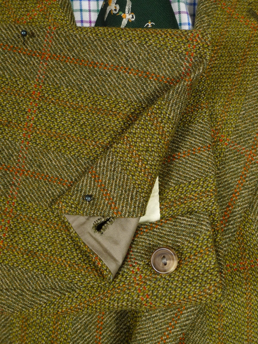 19/0077 vintage 1968 henry poole savile row bespoke green windowpane check tweed jacket w/ ghillie collar (portly cut) 44 short
