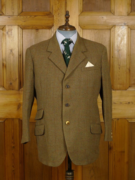19/0087 wonderful heavyweight vintage scottish tweed jacket w/ staghorn buttons 48 short