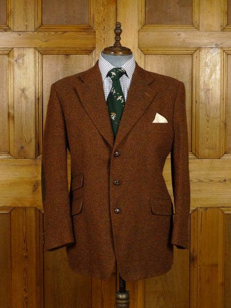 19/0099 vintage aquascutum tan brown twill tweed jacket w/ elbow patches 46 short