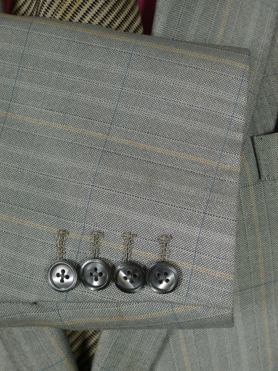 19/0104 distinctive 1980s vintage bespoke tailored canvassed grey mohair suit 42 short
