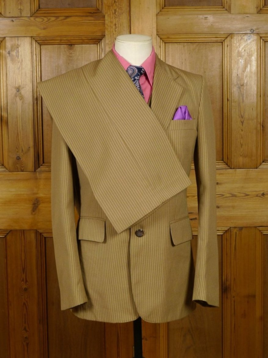 19/0106 wonderful genuine late 1970s vintage flared leg brown pin-stripe 3-piece suit 37-38 regular to long