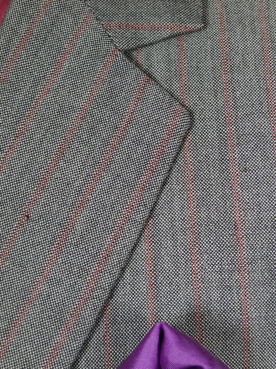 19/0114 delightful 1980s vintage bespoke tailored canvassed grey / red stripe mohair suit 43 short to regular