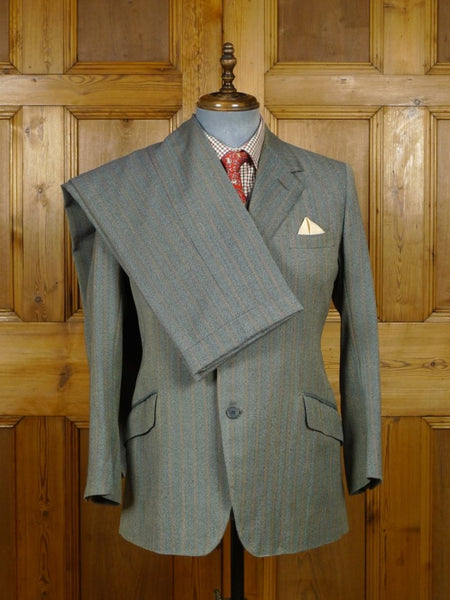 19/0121 superb vintage bernard weatherill savile row bespoke green / amber stripe worsted twist 3-piece suit 40 short