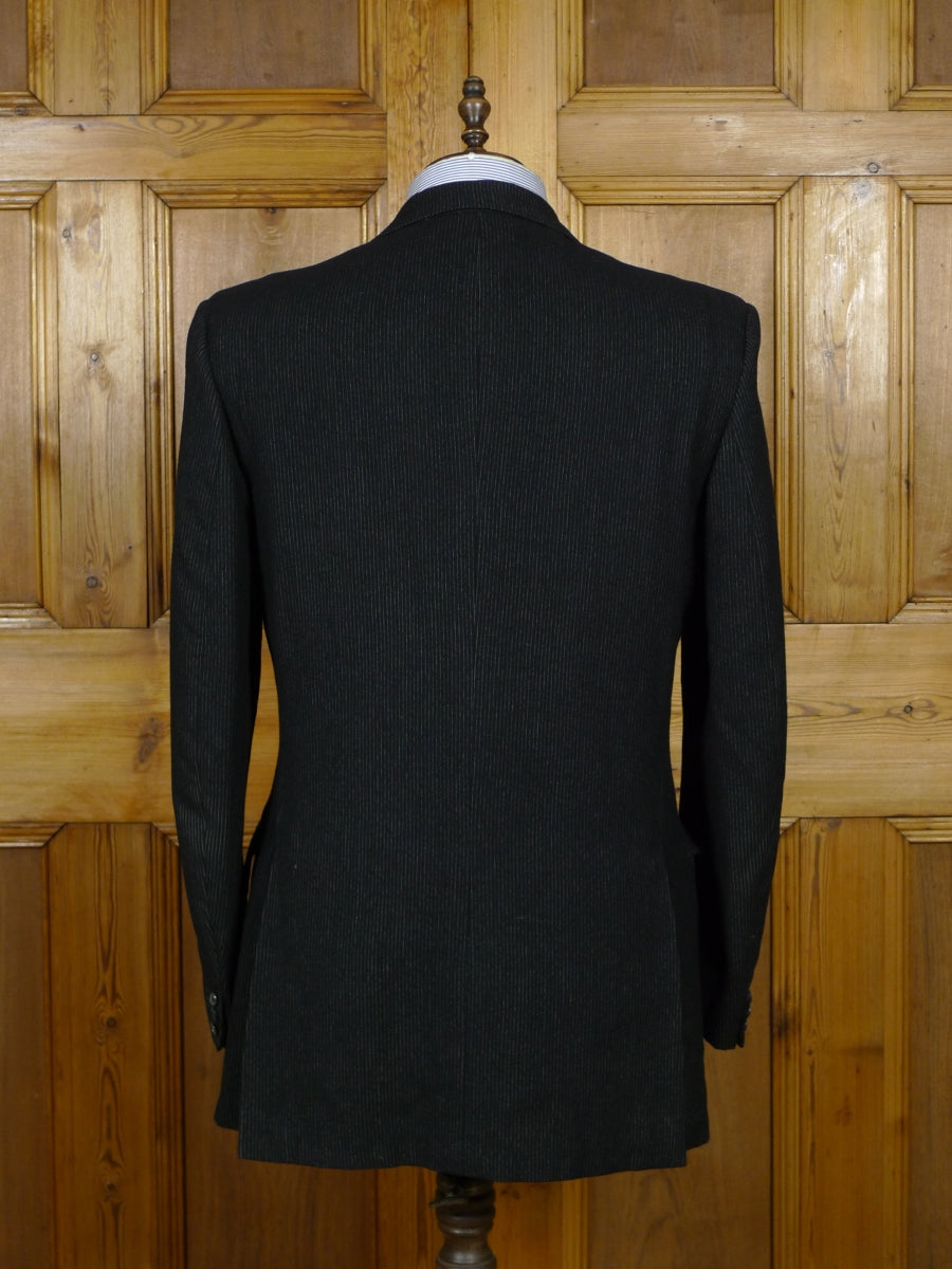 19/0183 vintage 1950S 1960S heavyweight bespoke tailor black pin-stripe worsted flannel suit 43 long
