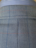 19/0186 distinctive modern daks london wool & 11% silk herringbone patch pocket sports jacket blazer 43-44 regular