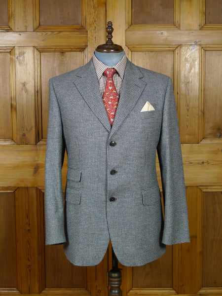 19/0196 immaculate modern daks london wool & 10% cashmere grey houndstooth check sports jacket blazer 44-45 regular