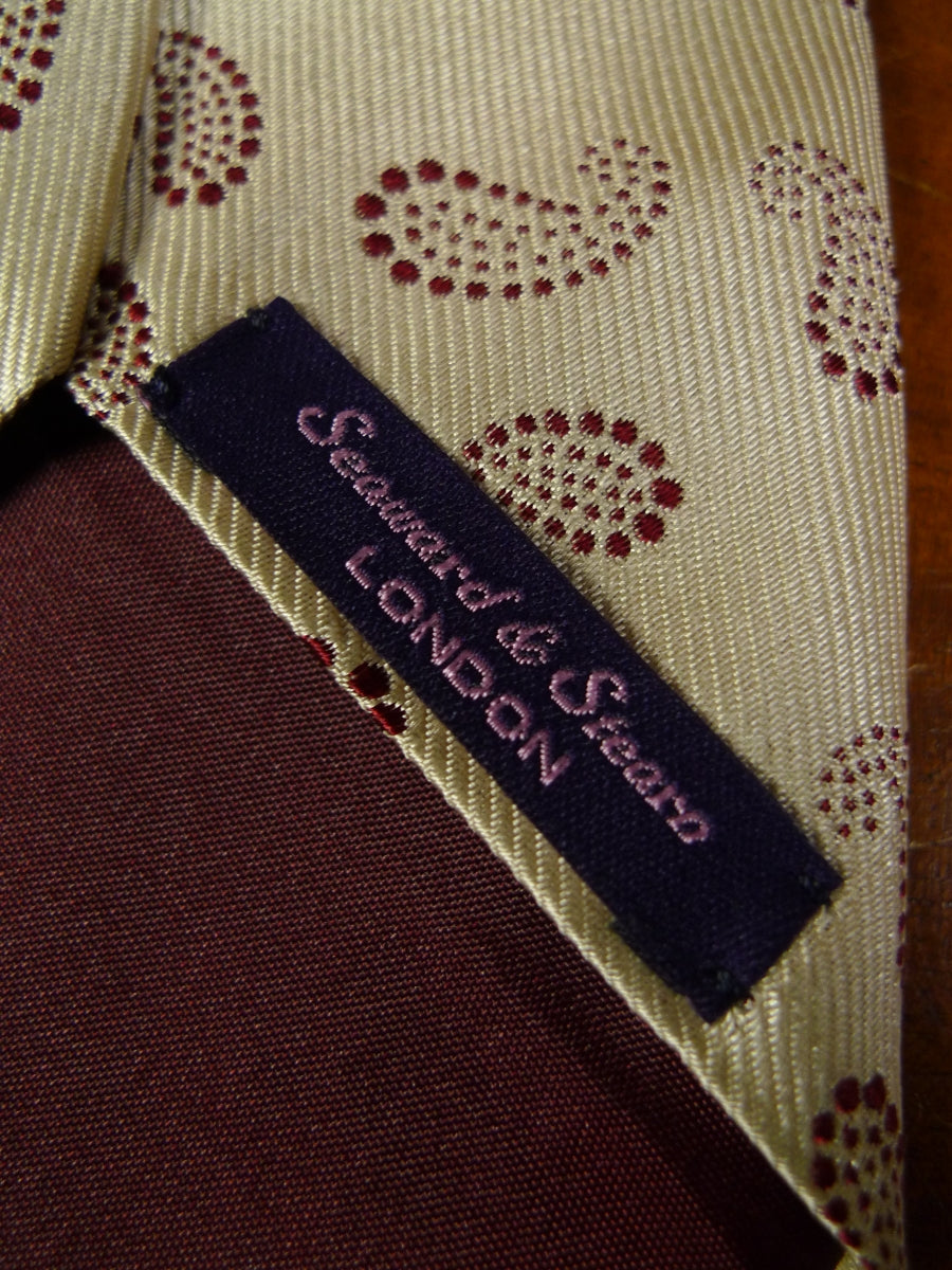 19/0241 immaculate seaward & stearn gold burgundy paisley 100% silk tie