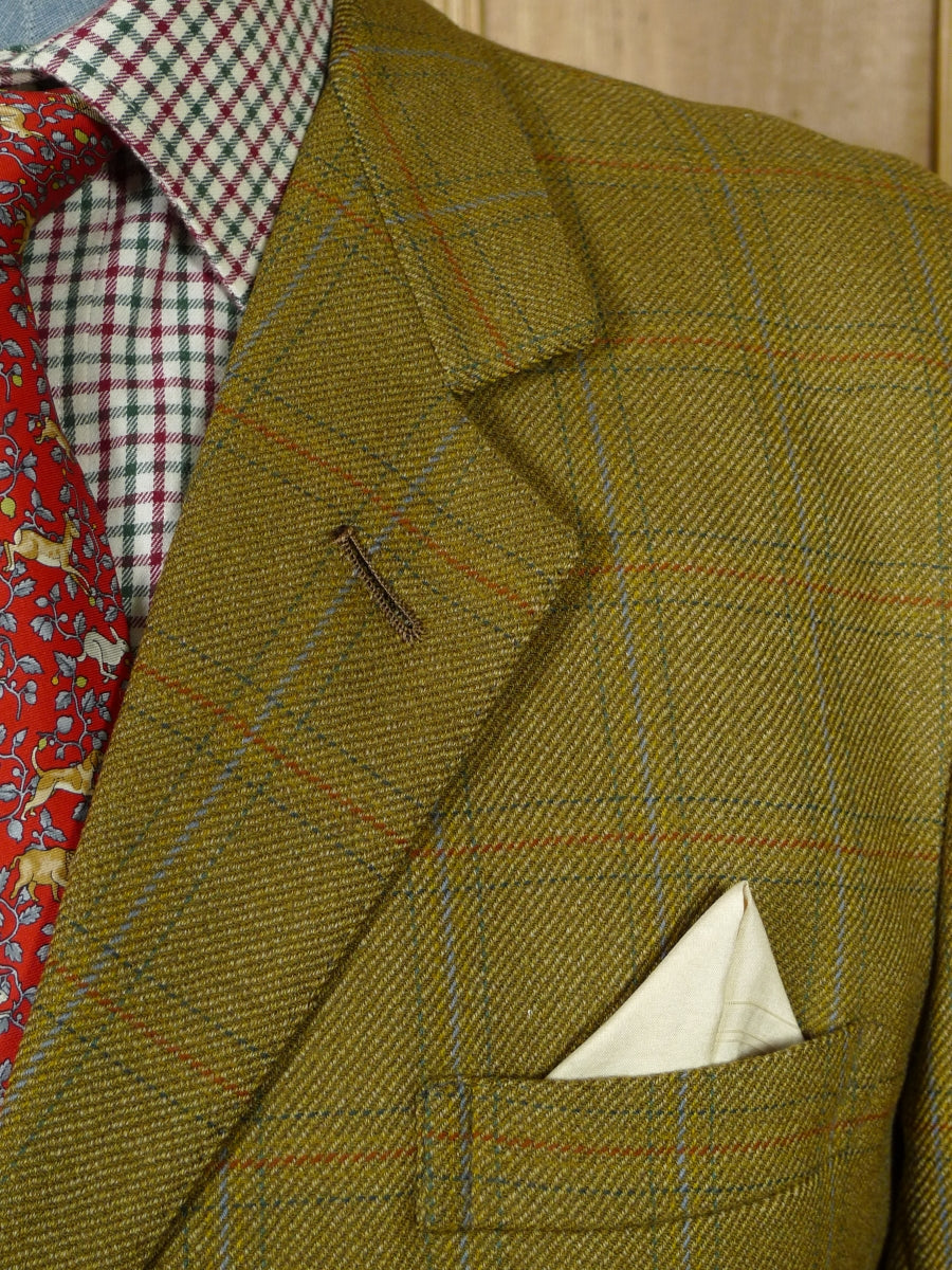 19/0250 vintage bespoke tailor canvassed worsted twill green country check sports jacket 45-46 short