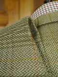 19/0267 vintage bespoke tailored canvassed green windowpane check tweed jacket 46-47 short