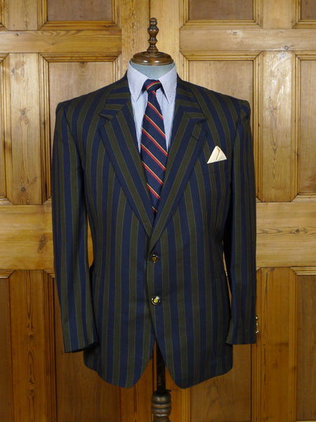 19/0268 immaculate bespoke tailored canvassed striped wool boating blazer 46-47 short