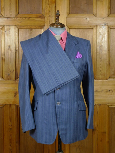 19/0273 vintage bespoke tailor canvassed heavyweight blue multi-pin-stripe worsted suit w/ wide lapel - wide leg 44 short to regular