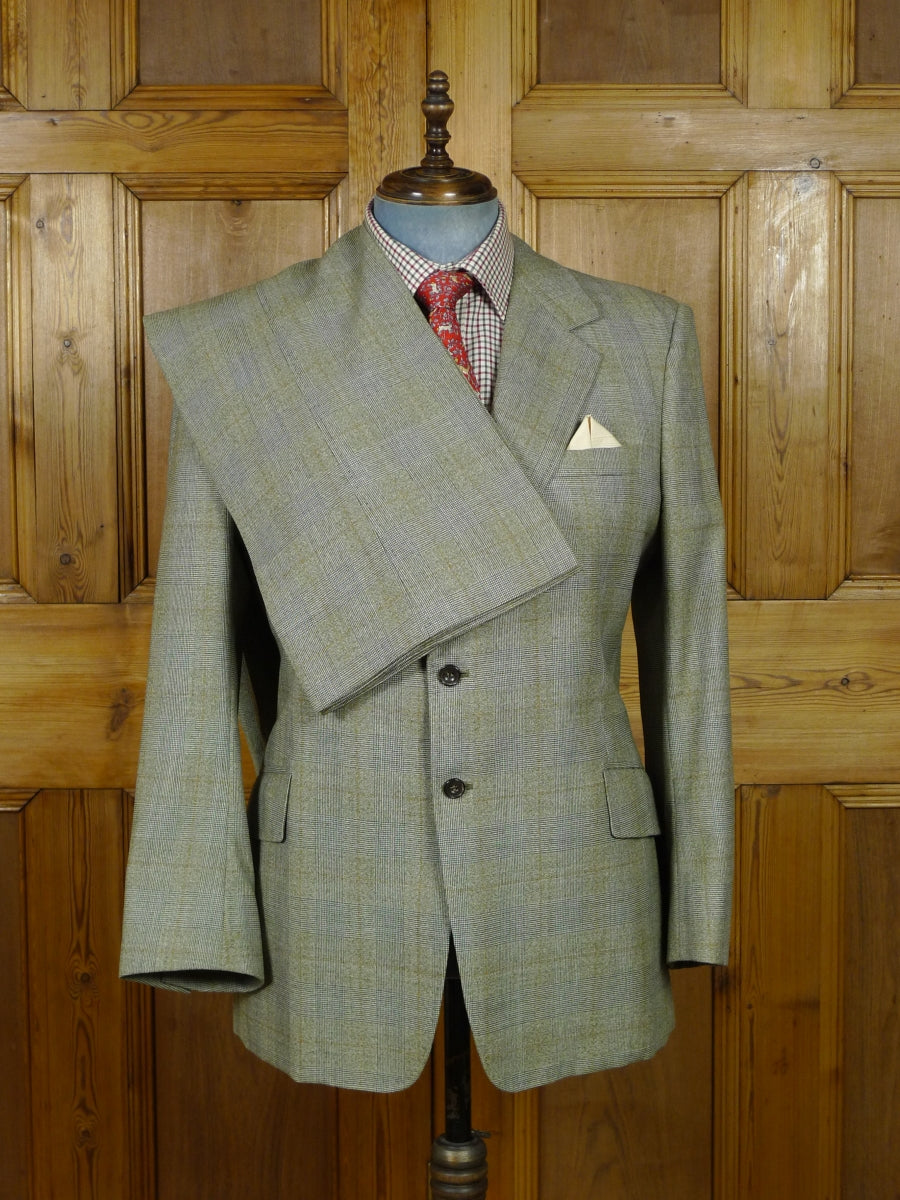 19/0285 vintage bespoke tailor canvassed grey / rust red prince of wales check worsted boot-cut suit 44 short to regular