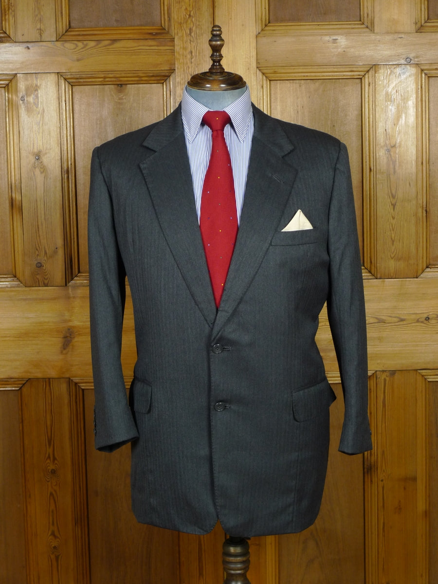 19/0294 vintage london bespoke canvassed grey herringbone wool suit 45-46 short