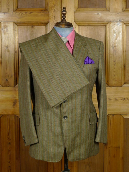 19/0291 vintage bespoke tailor canvassed brown multi-stripe wool twist suit w/ paisley linings 42-43 short to regular