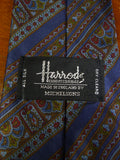 19/0306 immaculate harrods navy olive burgundy all silk tie