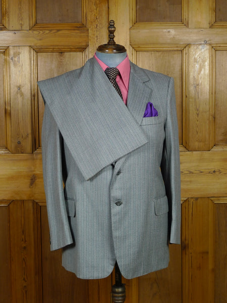 19/0319 vintage bespoke tailor canvassed grey / blue stripe wool twist boot cut suit 44 regular
