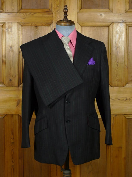 19/0324 wonderful vintage bespoke tailor brown multi-stripe worsted boot-cut suit w/ burgundy linings 42 short to regular
