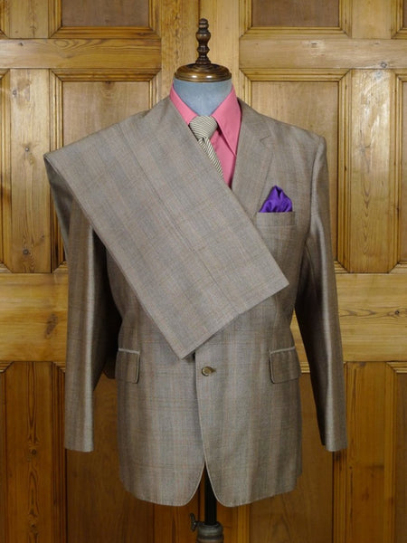 19/0325 wonderful vintage bespoke tailor canvassed beige / amber check mohair suit w/ paisley linings 45 short to regular