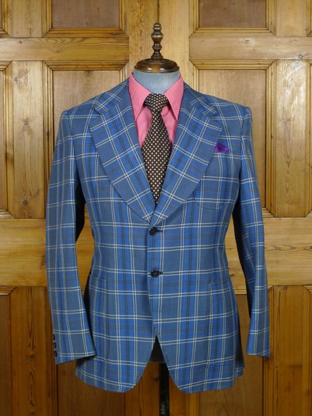 19/0323 wonderful vintage bespoke tailor canvassed blue check extra wide lapel sports jacket blazer 42 short to regular