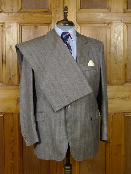 19/0337 vintage bespoke tailor canvassed brown / red stripe wool twist suit w/ red lining 46-47 short to regular