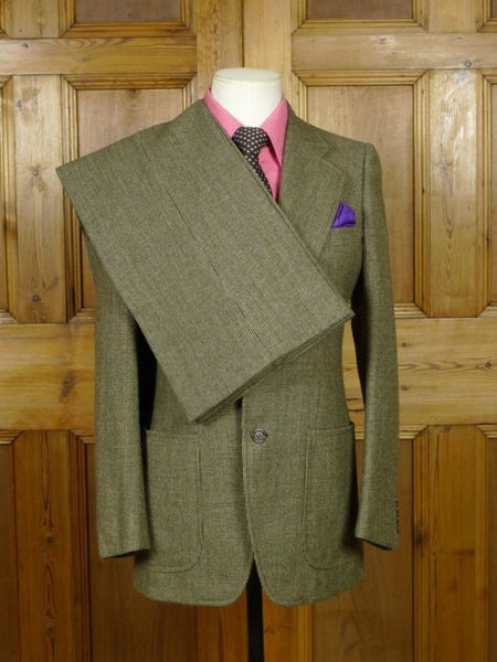 19/0339 vintage 1970s zegna cloth green check wide lapel / flared leg tweed suit 36-37 regular