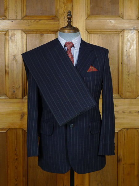 19/0341 vintage 'director collection' heavyweight navy blue multi-pinstripe worsted suit 38 short