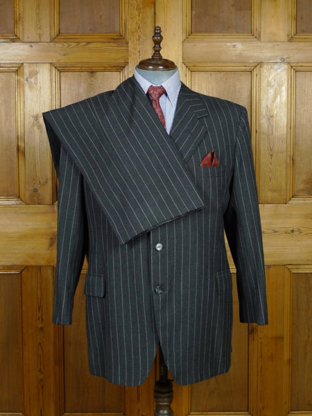 19/0344 immaculate bespoke tailor canvassed grey rope-stripe worsted & mohair suit 45-46 short to regular