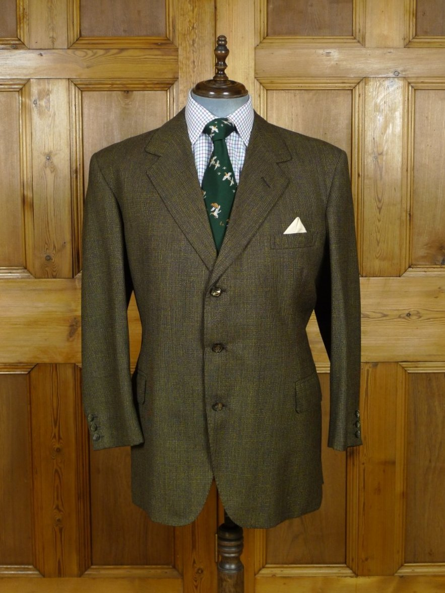 19/0347 immaculate bespoke tailor canvassed 2-tone brown worsted twist town & country suit 44-45 short to regular