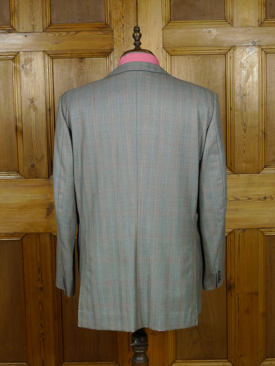 19/0348 vintage bespoke tailor canvassed pale green / amber check wool twist suit jacket blazer 46-47 short to regular