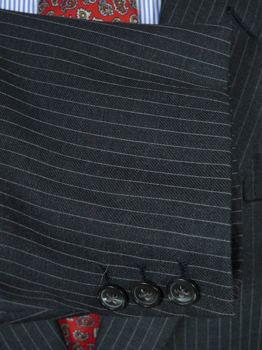 19/0349 quality bespoke tailor canvassed grey pin-stripe worsted suit 48-49 short