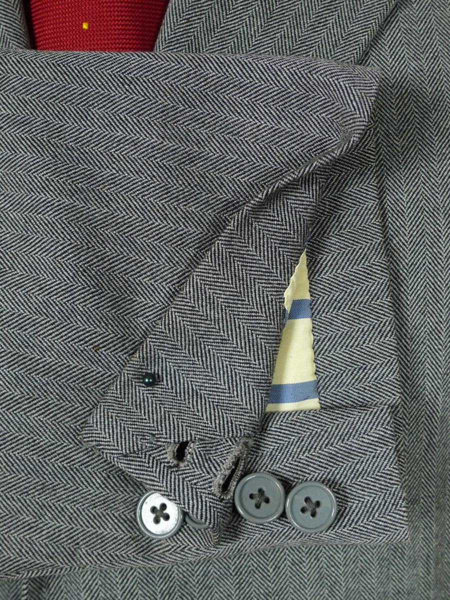 19/0363 vintage 1982 savile row bespoke grey herringbone worsted suit 41-42 regular