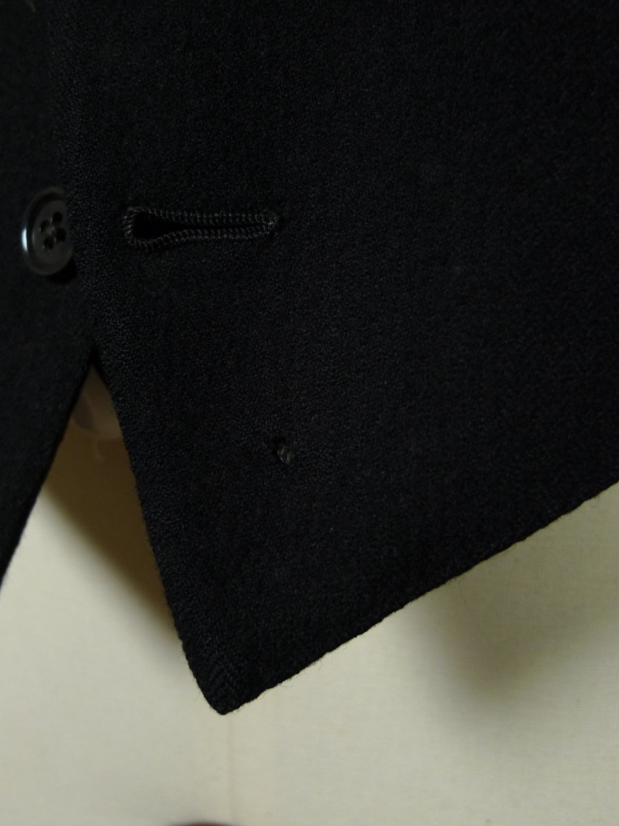 19/0374 genuine 1939 ww2 era black herringbone wool morning waistcoat 36 short