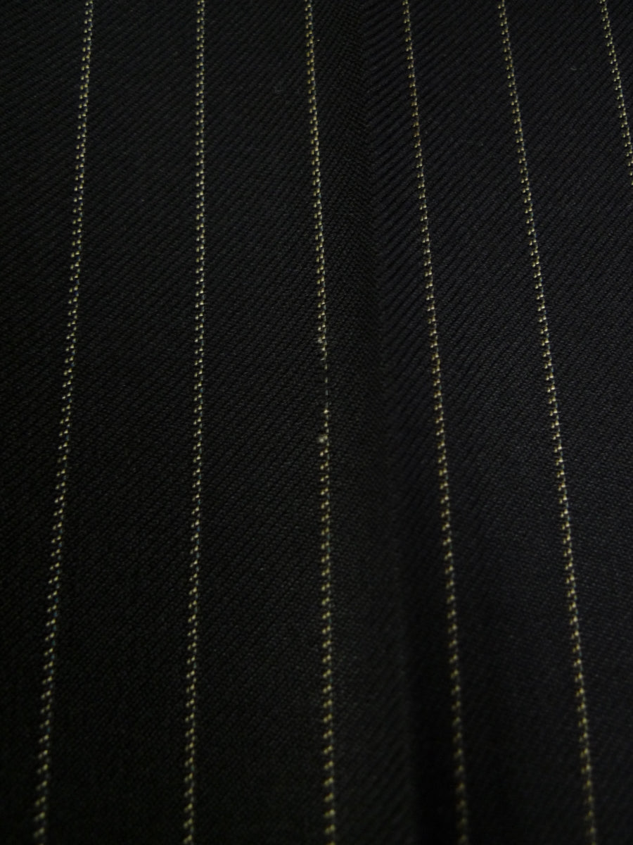 19/0369 vintage 1960s high-rise savile row bespoke tailored black rope-stripe worsted trouser 32-37
