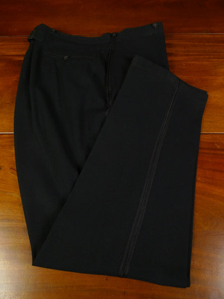 19/0498 genuine 1920s 1930s vintage black barathea wool high-rise evening trouser 39