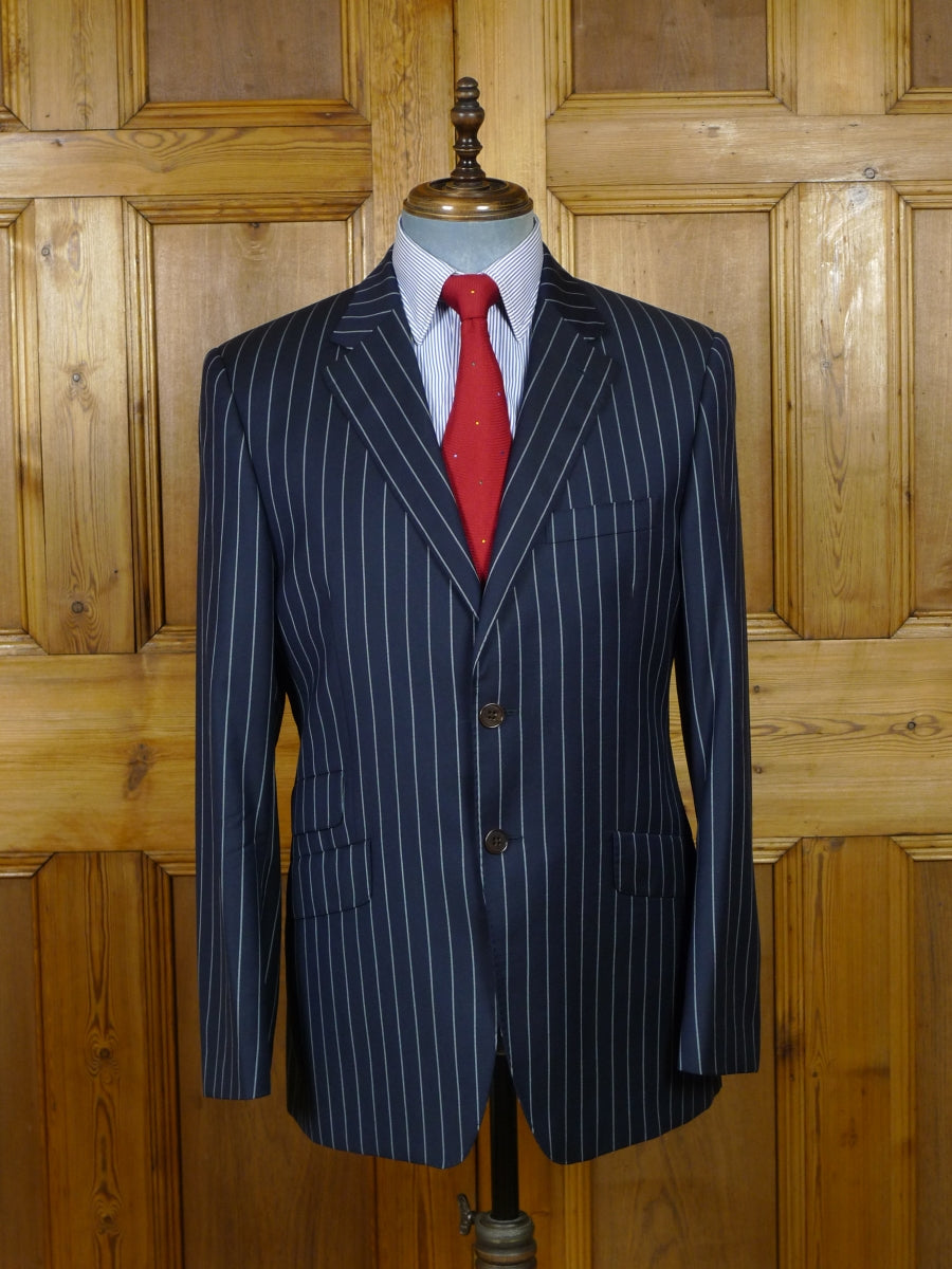 19/0362 paul smith 'the westbourne' navy blue rope-stripe made-to-measure wool suit w/ contrast linings 40 regular