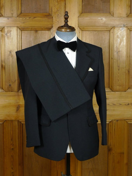 19/0370 immaculate genuine 1970s black poly dinner suit w/ braiding & flared leg 37-38 short