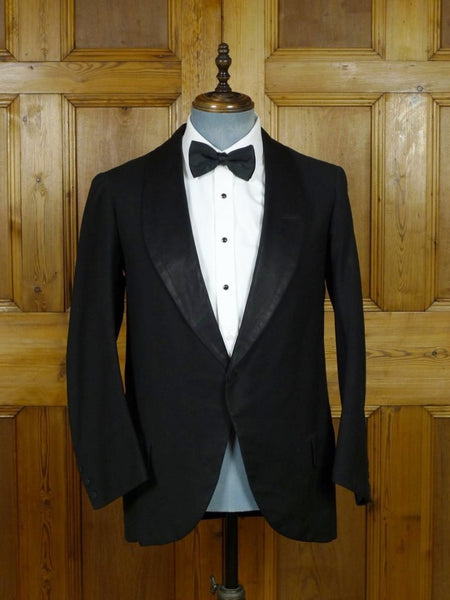19/0497 genuine 1920s 1930s vintage black cord dinner / smoking jacket w/ silk shawl (portly cut) 38 regular