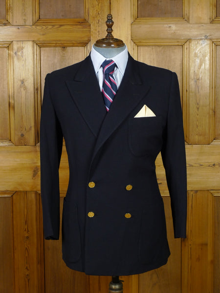 19/0392 delightful vintage savile row bespoke navy blue d/b worsted blazer w/ special buttons & burgundy linings 41 regular