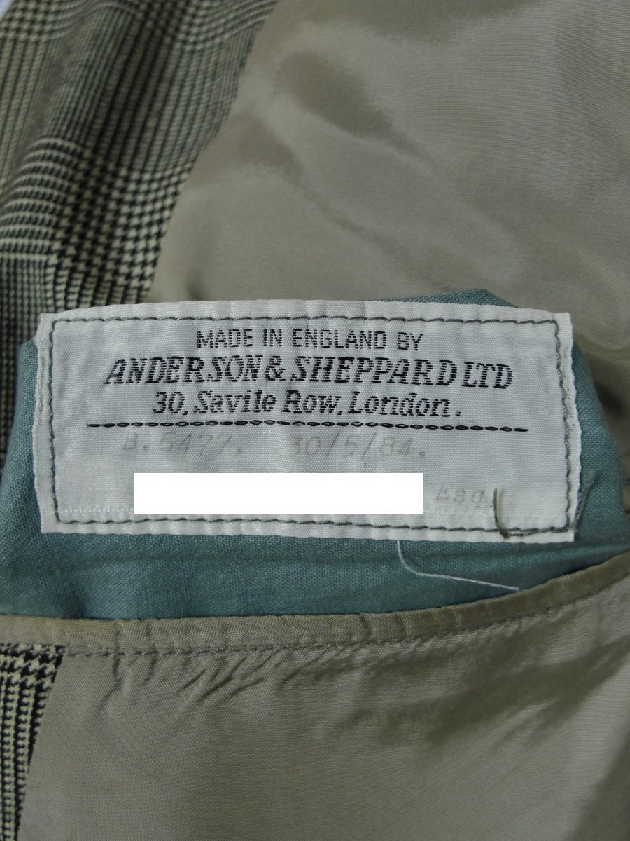 19/0396 vintage anderson & sheppard savile row bespoke prince of wales check worsted suit jacket blazer sports jacket 40 regular