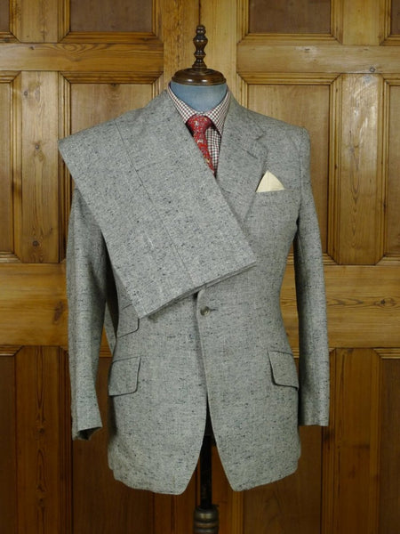 19/0407 vintage savile row bespoke 'salt 'n' pepper' grey donegal tweed suit 42 regular