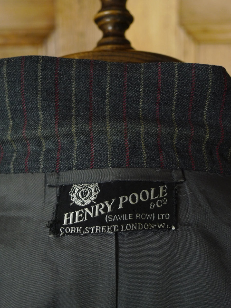 19/0438 superb 1971 vintage henry poole savile row bespoke grey / red & white rope-stripe 3-piece suit 38-39 short to regular