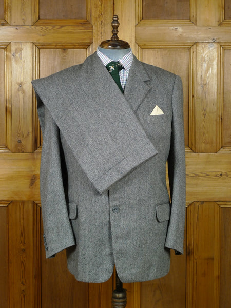 19/0453 superb vintage dege savile row 'salt & pepper' donegal weave tweed 3-piece suit 43 regular to long