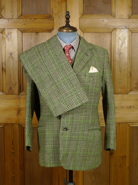 19/0474 wonderful vintage n h chapman savile row bespoke green glen check heavyweight 3-piece tweed suit made for peer of the realm 40 short