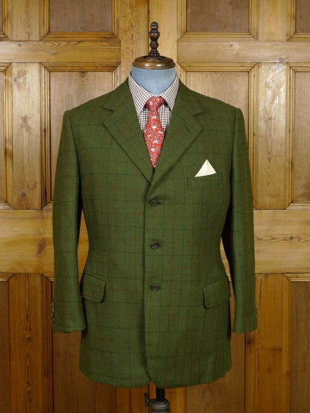 19/0473 vintage meyer & mortimer savile row bespoke green windowpane check heavyweight tweed jacket made for peer of the realm 42 short to regular